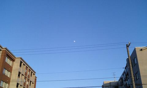 青い空、白い月