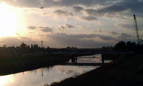 梯川と夕日