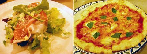 サラダとピッツァ