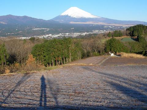 富士山と私の影