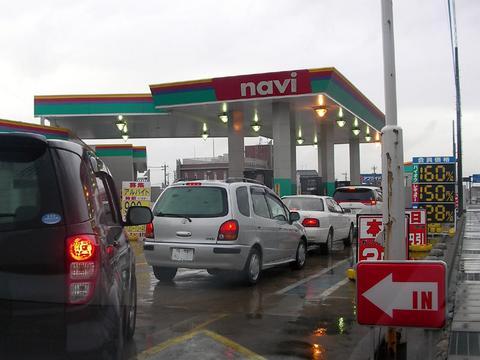 ガソリンスタンドの行列