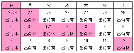 【いしかわや】年末年始カレンダー