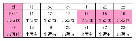【いしかわや】 旧盆営業カレンダー